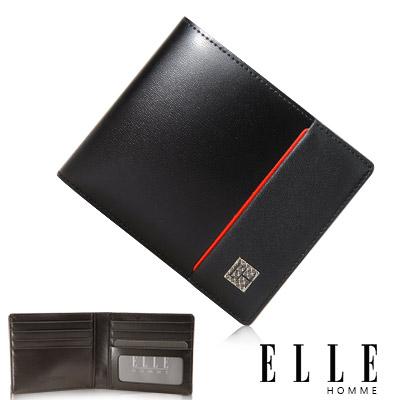 ELLE HOMME 嚴選義大利頭層皮系列 8卡法式精品短夾 -黑