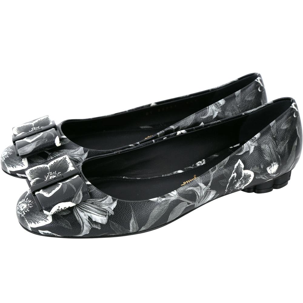 Salvatore Ferragamo FLOWER 花朵印花黑色蝴蝶結平底鞋