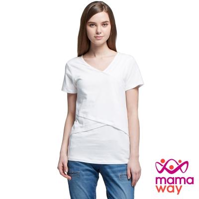 孕婦裝 哺乳衣 綿柔V領剪接上衣(共五色) Mamaway