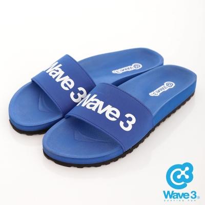 WAVE3-台灣製-男印刷LOGO運動休閒拖-藍