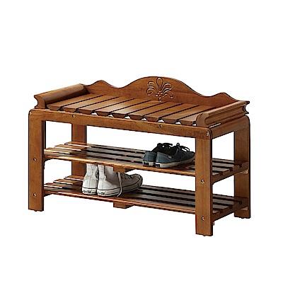 Bernice-刻花3尺全實木開放式座式鞋櫃/穿鞋椅-90x38x60cm