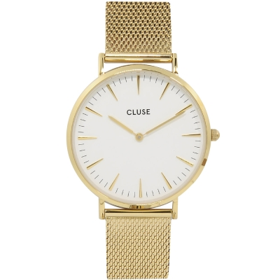 CLUSE荷蘭精品手錶 波西米亞不鏽鋼系列 白錶盤/金色金屬錶帶38mm