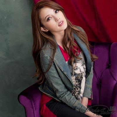 WHALE JEANS 流行韓模風範短版牛仔外套