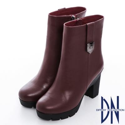DN 獨特風采 素面真皮鑽鑲銀釦超顯瘦中筒靴 紅