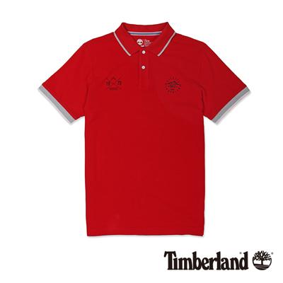 Timberland-男款暗紅色拼接刺繡短袖Polo衫