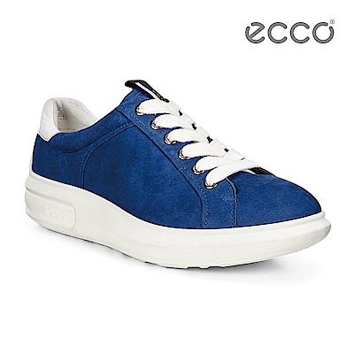 ECCO SOFT 3 活力繽紛厚底增高休閒鞋-藍
