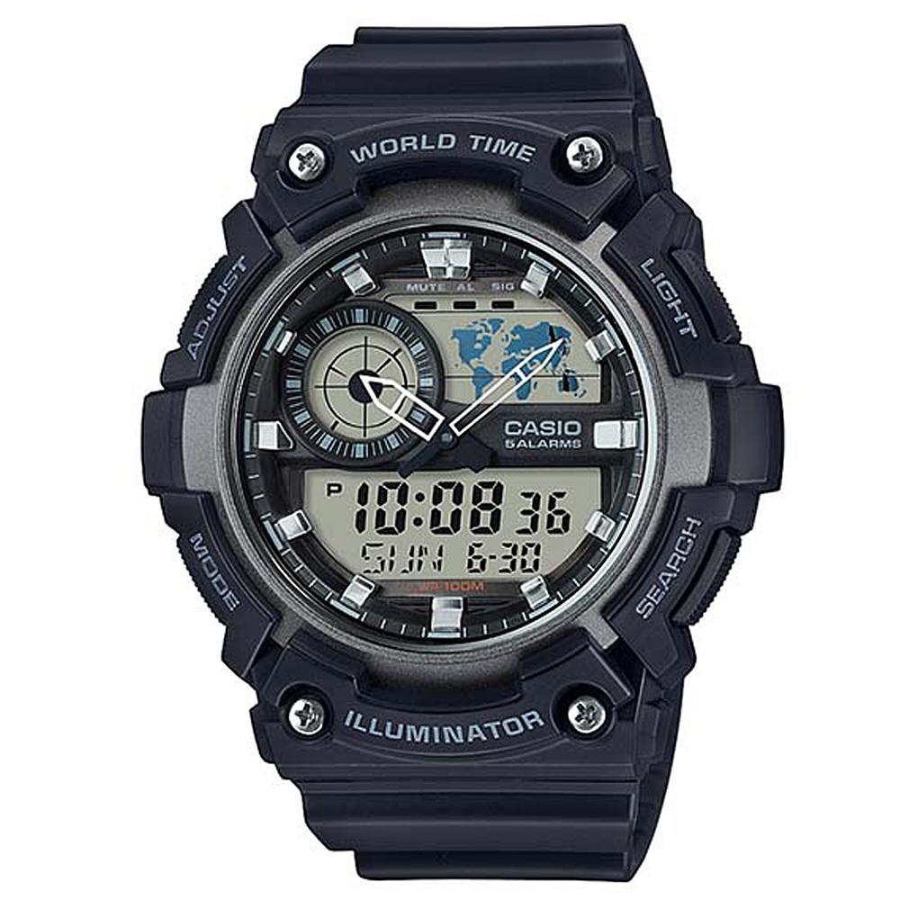 CASIO 世界地圖時間設計雙顯運動錶(AEQ-200W-1A)-黑X銀框51.4mm