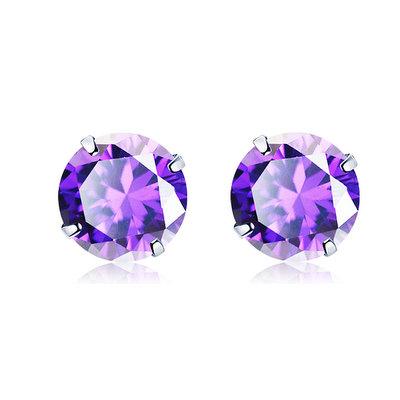 ACUBY 925純銀驚彩鋯石單鑽耳環/4mm紫紅