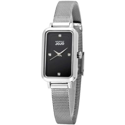 NATURALLY JOJO 魅力魔方米蘭不鏽鋼鍊錶-銀色/黑面-20*37mm