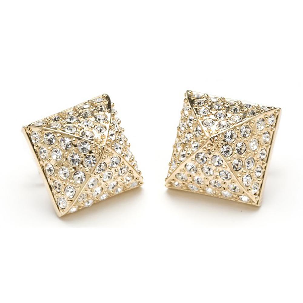 CC SKYE 白鑽 金字塔 造型金色耳環 附原廠禮物盒