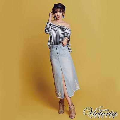 Victoria 淺藍前岔割破單寧長裙-女-淺藍