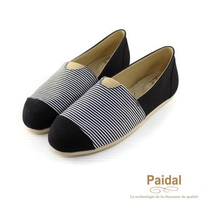 Paidal 海洋水手風橫紋樂福鞋懶人鞋-黑
