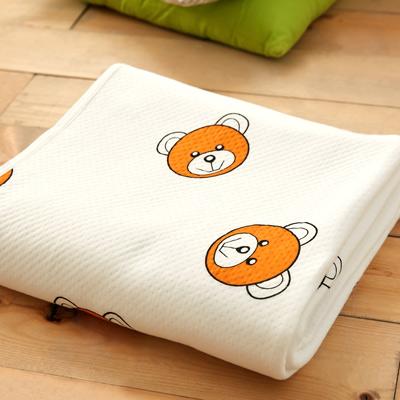 美夢元素 純棉針織天然纖維透氣涼毯-100*150cm(快樂小熊)