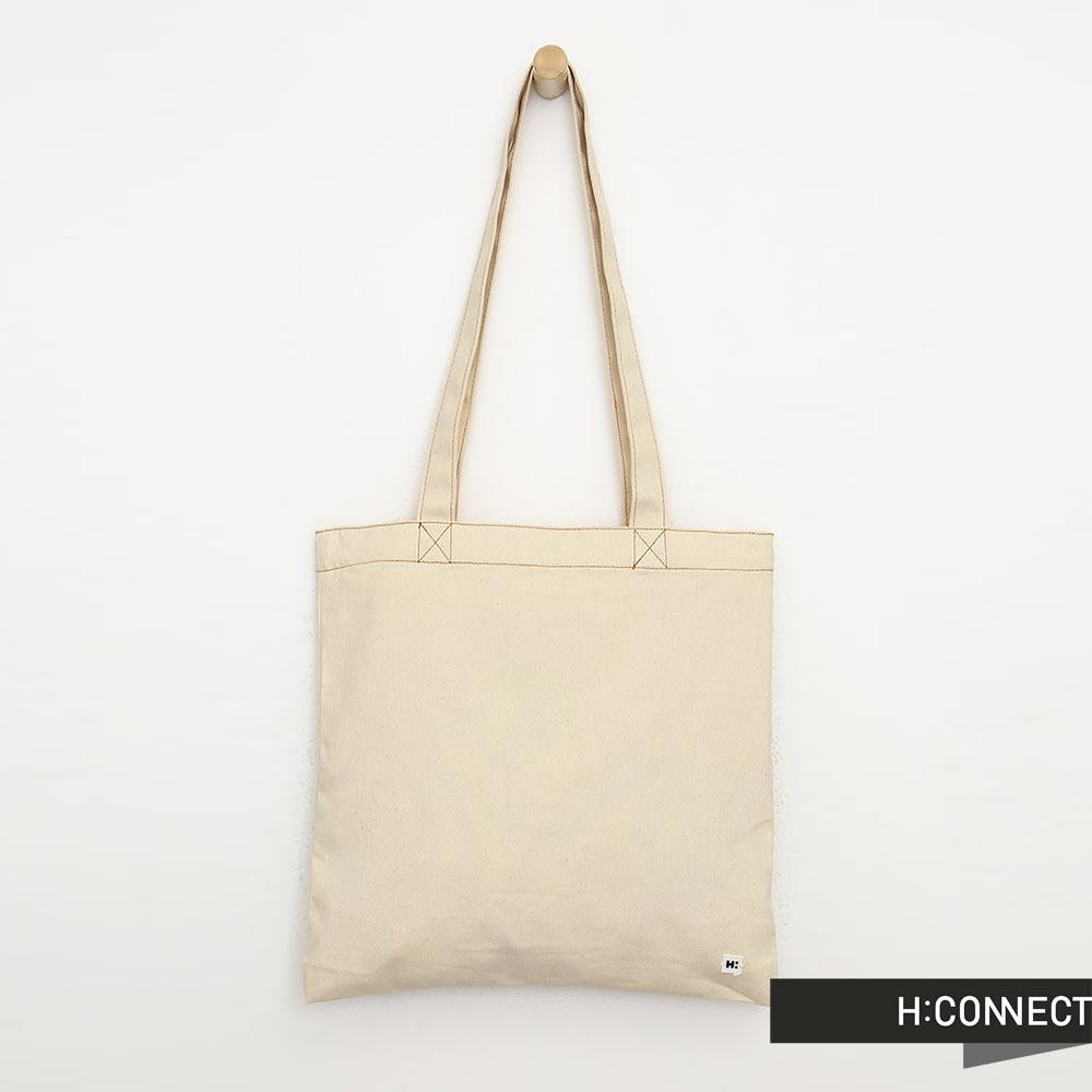 H:CONNECT 韓國品牌 簡約純色棉質帆布包- 白