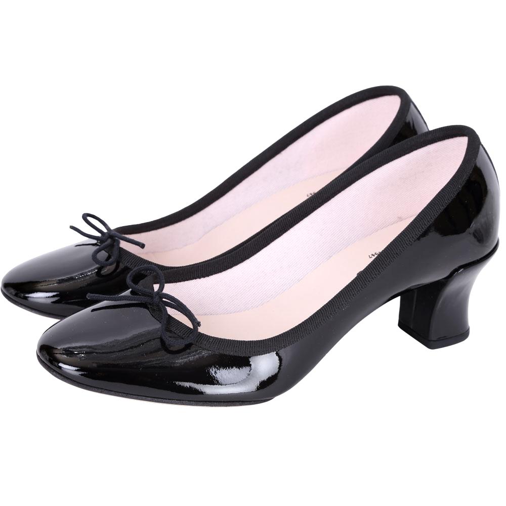 Repetto CLARA 漆皮蝴蝶結低跟鞋(黑色)