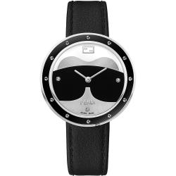 FENDI芬迪 My Way Karlito 鉚釘真鑽經典手錶-黑色錶帶/35mm