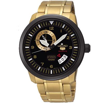SEIKO-精工盾牌五號金采時尚機械錶-黑-42m