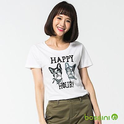 bossini女裝-印花短袖T恤41白