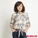 BOBSON 女款下擺綁結式襯衫(黃30)