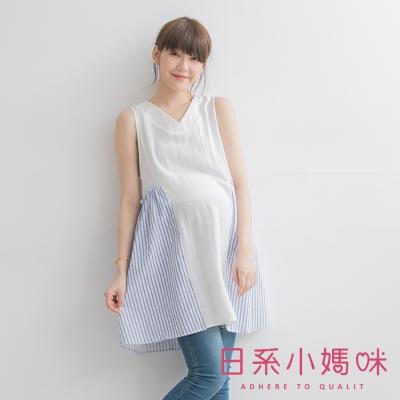 日系小媽咪孕婦裝-V領後綁繩拼接條紋無袖洋裝-共二