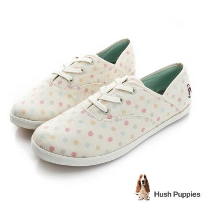 Hush Puppies 甜心點點咖啡紗帆布鞋-米白