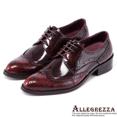 ALLEGREZZA-真皮-經典擦色雕花尖頭綁帶牛