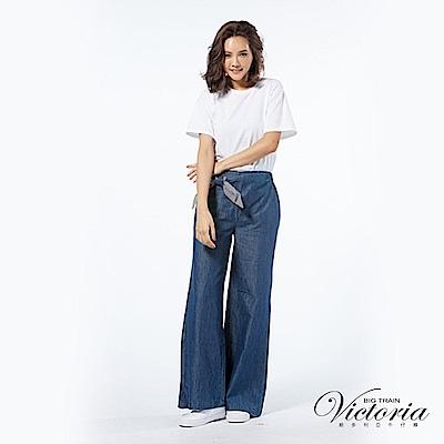 Victoria 中高腰天絲棉綁帶寬褲-女-深藍