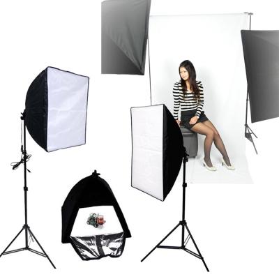 快裝式柔光罩50+70CM新型兩用柔光箱無影罩背景架全套組-四聯燈超亮攝影棚燈專用
