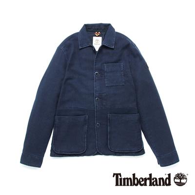 Timberland-男款靛藍色翻領休閒夾克外套