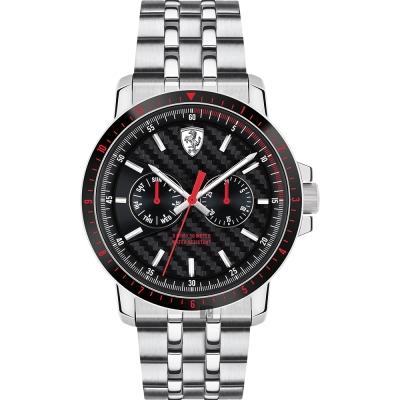 Scuderia Ferrari 法拉利 TURBO日曆手錶-黑x銀/42mm