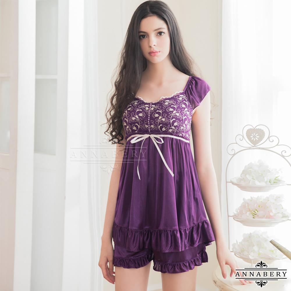 大尺碼Annabery浪漫深紫色柔緞睡衣短褲二件組 紫L-2L Annabery
