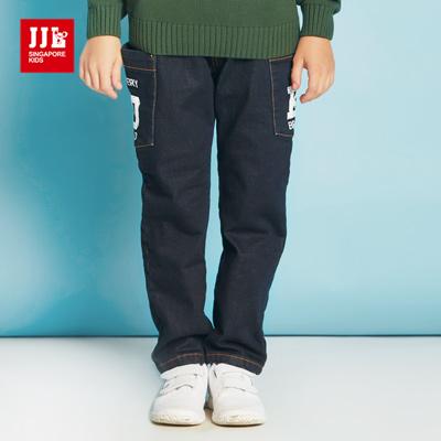 JJLKIDS 個性街頭大口袋內刷毛牛仔褲(牛仔藍)