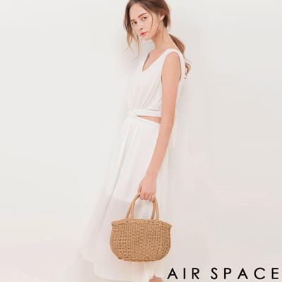AIR SPACE 腰鏤空綁帶鬆緊雪紡長洋裝(白)
