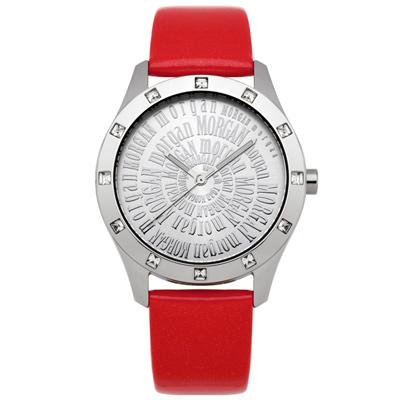 MORGAN 閃耀符號晶鑽時尚腕錶-銀x紅/37mm