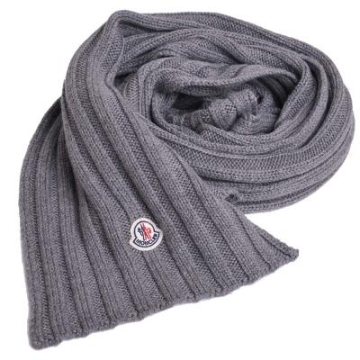 MONCLER 經典品牌圖騰羊毛直紋造型圍巾(灰色)