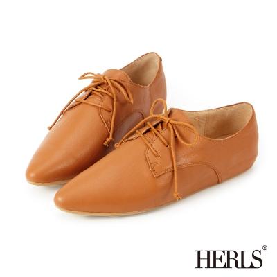 HERLS 全真皮 綁帶內增高德比牛津鞋-駝色