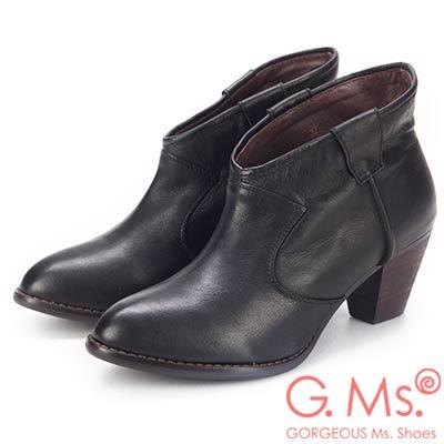 G.Ms. 全真皮簡約尖頭V口粗跟踝靴-黑色