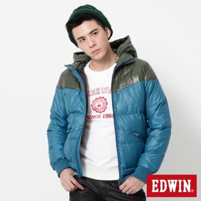 EDWIN 雙色立領帽可拆羽絨外套-男-苔綠