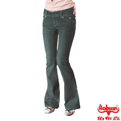 【BOBSON】女款磨力美人釘珠伸縮中喇叭褲(復古藍77)