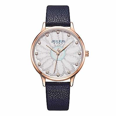 JULIUS聚利時 花樣年華簡約時尚腕錶-深海藍/36mm