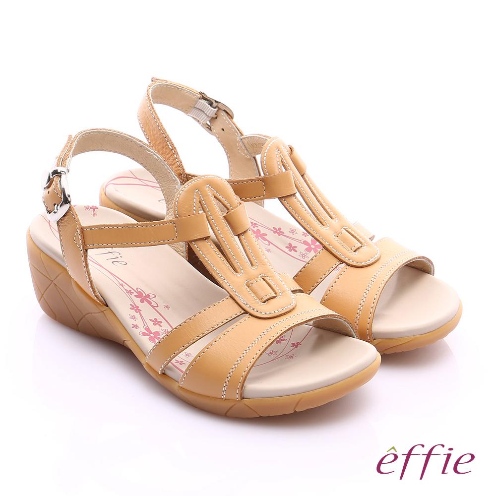 effie 輕量樂活 寬楦真皮工字楔型涼拖鞋 茶色