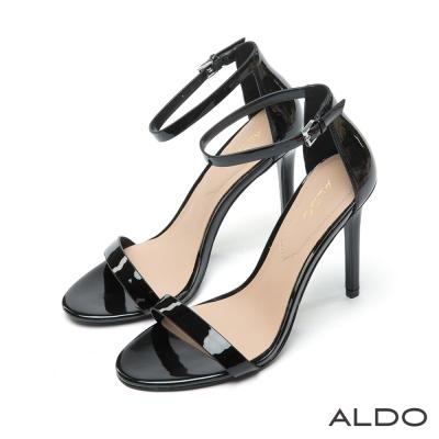 ALDO-亮面漆皮一字金屬釦帶細跟涼鞋-尊爵黑色