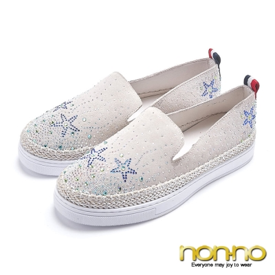 nonno 閃亮耀眼 鑲鑽星星休閒鞋-米