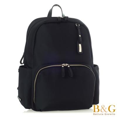 B&G 義大利牛皮防盜層商旅風後背包(絲光黑)