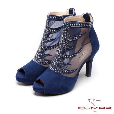 CUMAR優雅拼接-透膚網紗貼鑽魚口露趾高跟鞋-藍