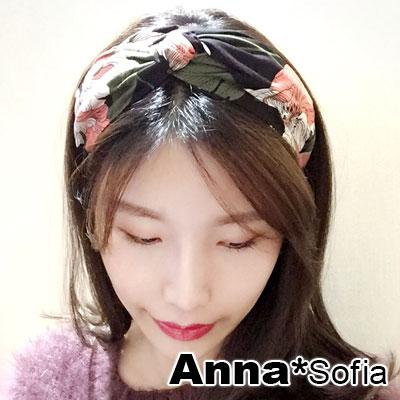 AnnaSofia 春紛花卉中央結 韓式寬髮箍(酷黑系)