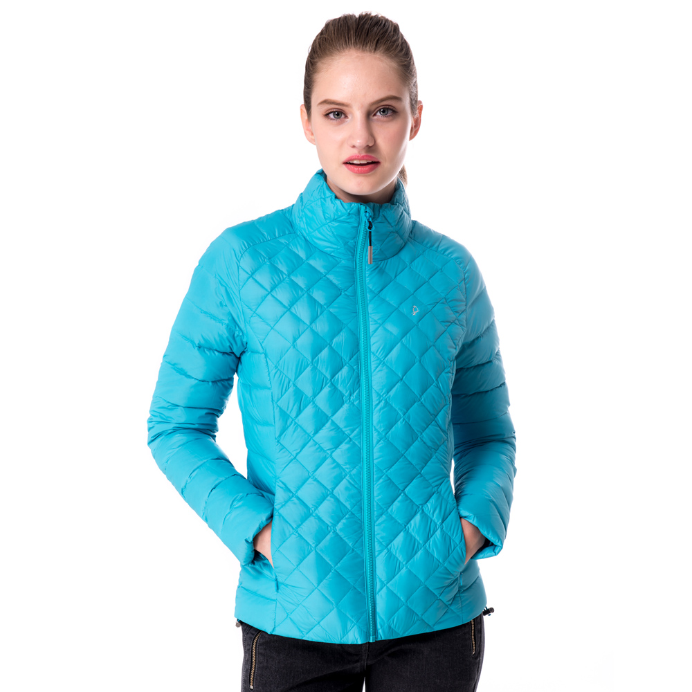 【hilltop山頂鳥】女款超撥水保暖蓄熱羽絨短大衣F22FU7藍
