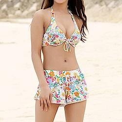 【AngelLuna日本泳裝】活潑印花三件式比基尼泳衣-橘色短褲