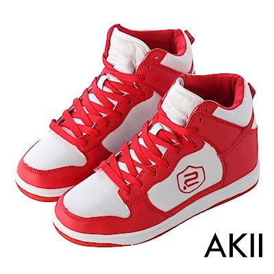 AKII 極簡時尚高筒休閒鞋 增高 8cm 白紅