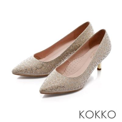 KOKKO-公主典範尖頭花紋鑽飾訂製高跟鞋-皇冠金